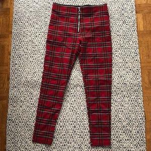 Zara Basic Red Plaid Checker Legging